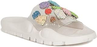 Women Glitter Jewel Transparent PVC Embossed Footbed Slide Sandal SA58