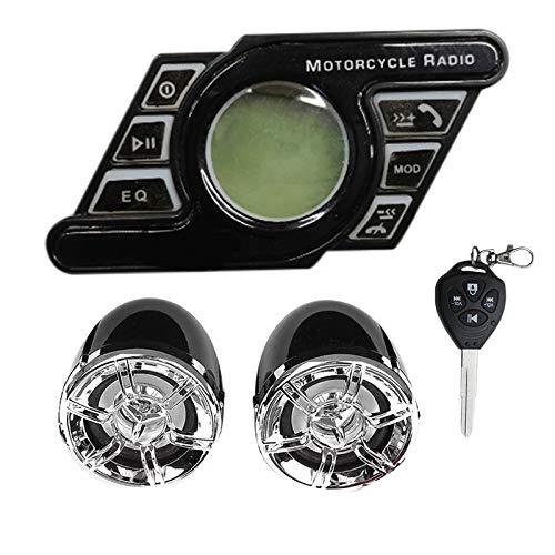 Andifany Sistema de Audio de Sonido para Motocicleta Altavoces Manos Libres EstéReo Radio Reproductor de MúSica MP3 Negro
