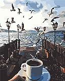 QAZZSF Bricolaje Pintura por Nmeros Kits Skyline Bird Cafe Seascape para Nios Estudiantes Adultos Arte De Pared Cuadro leo sobre Lienzo 40X50CM