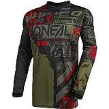 O'NEAL   Motocross-Jersey Langarm   MX Enduro   Gepolsterter Ellbogenschutz, V-Ausschnitt, atmungsaktiv   Element Jersey Ride für Herren   Erwachsene   Schwarz Grün   Größe L