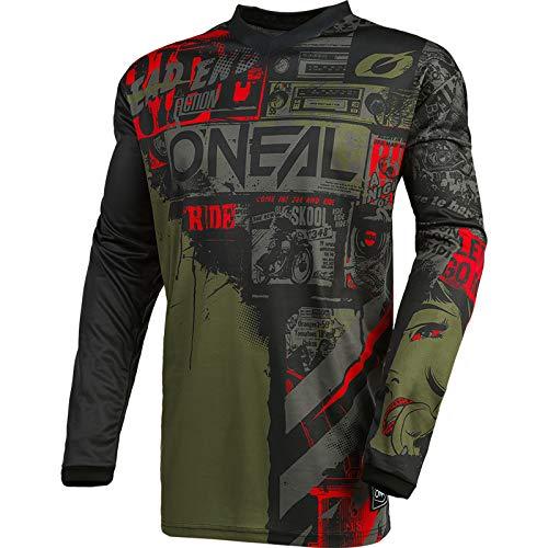 O'Neal | Maglia Motocross Manica Lunga | MX Enduro | Protezione Gomito Imbottita, Collo a V, Traspirante | Element Jersey Ride per Uomo | Adulto | Nero Verde | Taglia M