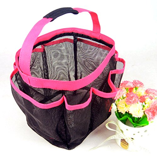 DCKR Best 8 Pocket Portable Shower Caddy (Pink) with Mesh Type in Quick Dry - at The Travel Toiletry Bathroom Makeup Gym Dorm for Beach Tote Bag