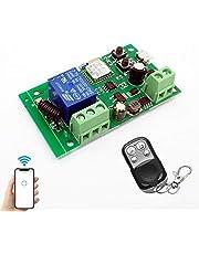 WiFi Wireless Relais Modul 1 Kanal Remote Switch AC220V Inching/Selbstverriegelung Switch Alexa Relais DIY für Garagentor Fernbedienung mit 433Mhz RF Remote kompatibel mit Alexa, Echo und Google IFTTT