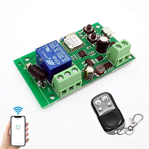 Interruttore WiFi Modulo relè wireless RF 433 MHz, telecomando APP DC 5V/12V, compatibile con Amazon Alexa Google Home, controllo vocale per sistema di controllo accessi, funziona con Ewelink APP