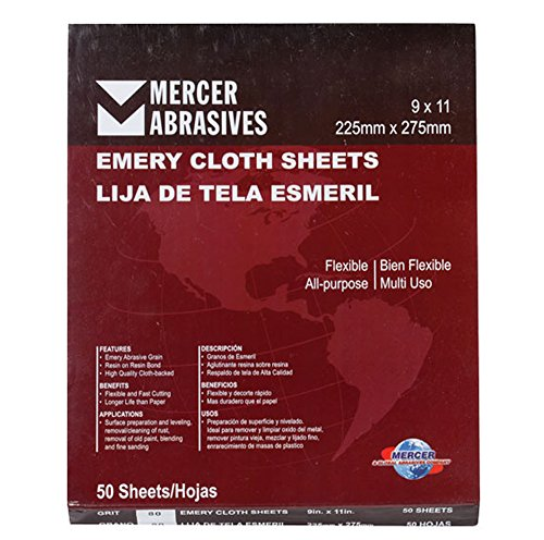 Mercer Industries 216240-9 x 11 Multi-Purpose Emery Cloth Sheets, Grit...
