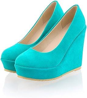 [ツネユウシューズ] パンプス 大きいサイズ ハイヒール 大きい サイズ ローズ ウェッジソール ウエッジソール ヒール 青 ブルー 厚底 痛くない靴 レディース ベージュ 26.5cm 靴 スエード 靴 歩きやすい ヒール12cm 前厚 卒業式 入学式