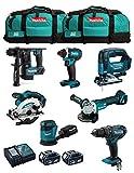 MAKITA Kit MK702 (DDF482 + DHR171 + DGA504 + DTD152 + DJV182 + DSS610 + DBO180 + 2 Batterie 5,0 Ah + Caricabatterie + 2 x LXT600)