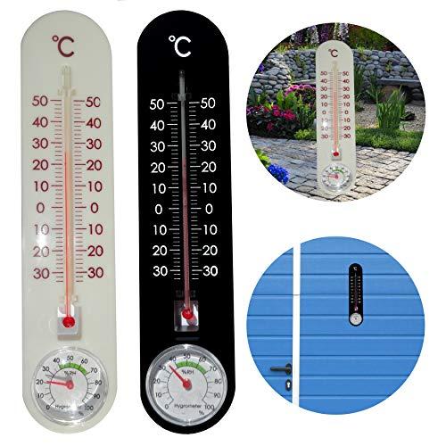 O&W Security 2 X termometro con igrometro analogico temperatura e umidità per interni ed esterni 24 x 5,5 cm indicatore di temperatura da -30 a +50 °C bianco e nero