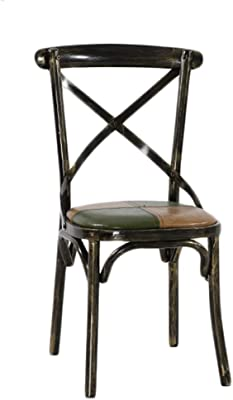 Dining Chairs Vintage Metal Wrought Iron Dining Chair Bar Cafe Chair Kitchen Chair Dining Table and Chairs Dining Room Chairs (Color : Black, Size : 90 * 46 * 43cm)