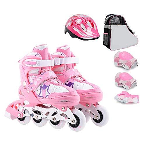 MY1MEY Single Wheel Sneaker Schuhe Verstellbare Inline-Skates, Rolling Light Up Wheels Rollerblades mit Tasche und Sicherheitsausrüstung für Mädchen Jungen Kinder und Erwachsene, Pink Set, S