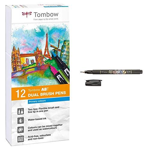 Tombow Abt-12P-1 Fiber Pen Dual Brush Pennarelli a doppia punta 12 Colori Primari & Ws-Bs Marker Calligrafico Ws-Bs