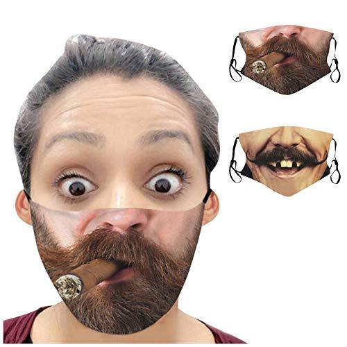 Allegorly 2PCS Erwachsene Mund und Nasenschutz mit Lustiger Druck Motive Waschbar Mehrweg Multifunktionstuch Mundschutz Maske Halstuch Bandana Stoff Geeignet für Männer und Frauen