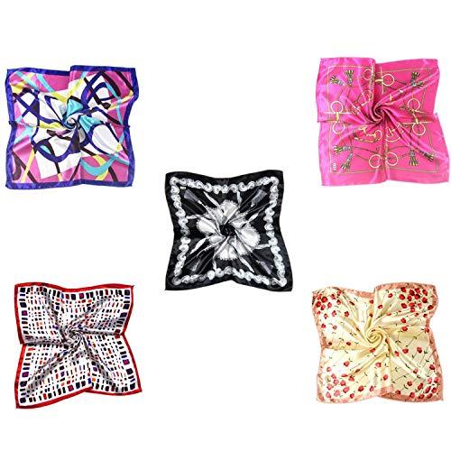 MESHIKAIER 5 Pack Donna Piccolo Sciarpa Quadrato Raso Fazzoletto da Collo Mini Foulard 50x50cm (Style 2)