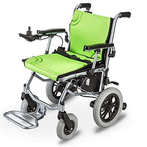 Candyana Lichte elektrische rolstoel, inklapbaar, in 1 seconde inklapbaar, compact, geleiderail voor maximaal 12 schelpen voor ouderen, groen