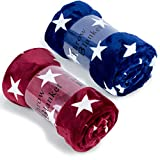 JML Throw Blankets for Couch, Fleece Throw Blanket 2 Pack - Soft Warm, Lightweight Plush Throw Blanket for Shawls and Wraps,Bed, Sofa, Chair, Travel, All Season Use, 50'x60', Star