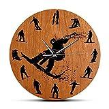 Siluetas de Snowboarders Reloj de Pared de diseño Moderno...