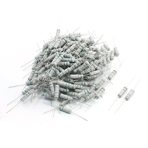 Aexit 200 Pieces Fixed Resistors 5.6 Ohm 2W Watt Through Hole Mounting Carbon Resistor Chip Arrays Film Resistors