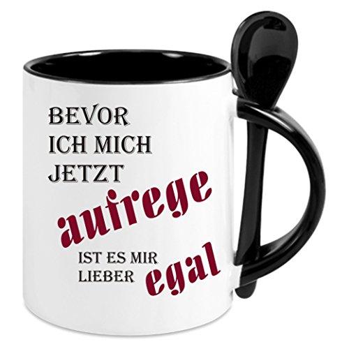Creativ Deluxe Kaffeetasse m. Löffel - Bevor ich Mich Aufrege ist es Mir Lieber egal - Kaffeetasse mit Motiv, Bedruckte Tasse mit Sprüchen o. Bildern - auch indiv. Gestaltung nach Kundenwunsch