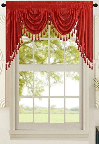 """All American Collection New Attached Solid Faux Silk Double Waterfall Valance with Tails (55"""" x 32"""", Red Valance)"""
