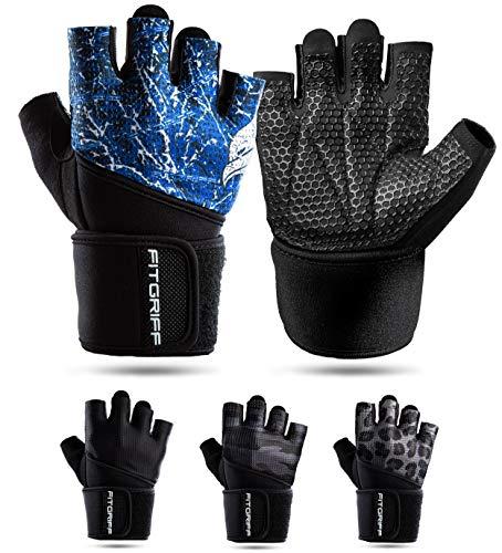 Fitgriff® Fitness Handschuhe V2, Trainingshandschuhe, Sporthandschuhe für Damen und Herren, Krafttraining, Kraftsport, Training, Sport, Gym, Workout Gloves (Blue, 10)