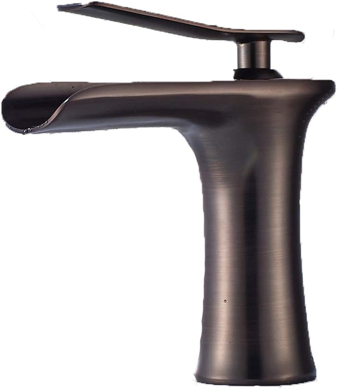 YYSLT Wasserhahn Wasserfall Bad Waschbecken Einhandmischer Waschtischmischer Einfachekupfer WasserhHne Hei Und Kalt,ORBbraun
