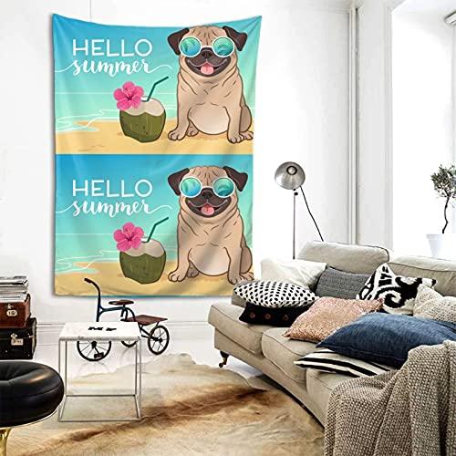 Tapiz divertido para colgar en la pared, diseño de carlino con texto 'Hello Verano', para colgar en la pared, decoración de la foto de 156 x 202 cm