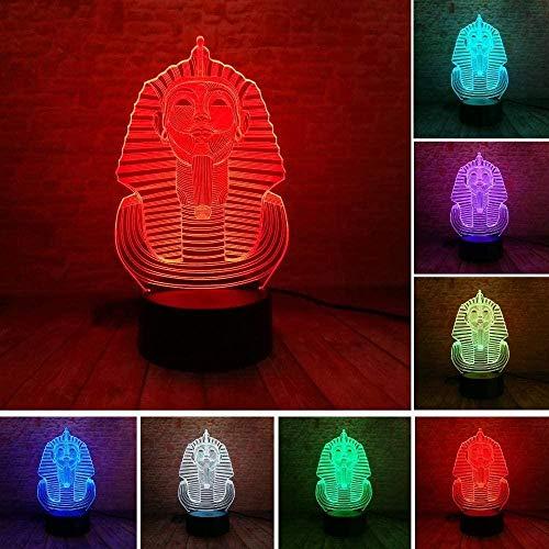 Ägyptische Sphinx 3D Illusion Lampe,3D Illusions Nachtlicht,mit 7 Farben Ändern und Fernbedienung für Mädchen Junge Kinder für Geburtstagsferien