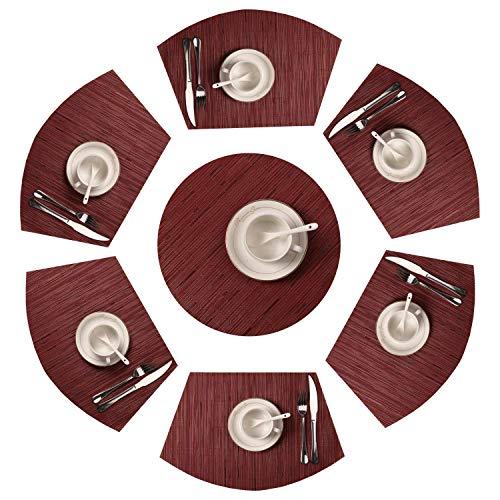SHACOS Keilförmige PVC Tischsets 7er Set,Abwaschbar Hitzebeständig Platzsets,Schmutzabweisend Platzdeckchen,Geeigenet für küche Speisetisch,Hochzeit,Party,Dekoration usw.(Rot, 7)