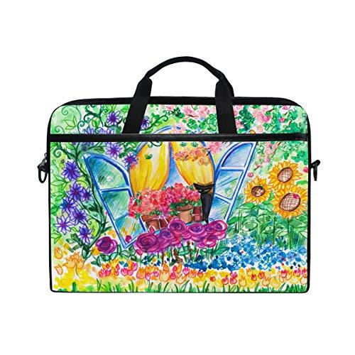 Ahomy 35,6 cm (14 Zoll) Laptop-Tasche, Aquarell, offenes Fenster, Sonnenblume, Tulpe Garten, Segeltuch, Laptoptasche mit Schultergurt für Damen und Herren