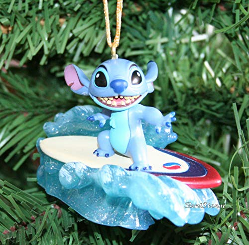 Disney Lilo and Stitch 4 Inch Surfer Stitch Alien Dog Custom PVC Holiday Christmas Tree Ornament...