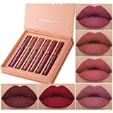 BONNIESTORE 6 Colors Matte Liquid Lipstick set, Waterproof Long Lasting Matte Nude Lip Gloss Mini 6pcs/set Liquid Lipgloss Set