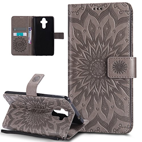ikasus Coque Huawei Mate 9 Etui Embosser Gaufrage fleur soleil Housse Cuir PU Housse Etui Coque Portefeuille Protection supporter Flip Case Etui Housse Coque pour Huawei Mate 9,gris