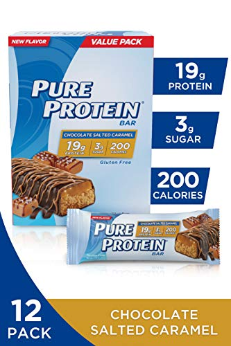 Pure Protein Bars, High Protein, Nurtritious Snacks to Support Energy, Low Sugar, Gluten Free, Chocolate Salted Caramel, 1.76oz, 12 Pack