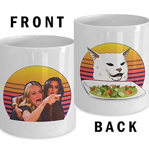 Woman Yelling at Confused Cat at dinner table Both Sides Mug Funny Meme Nerd Gifts Trending Dank Memes Coffee Mugs Cup Best Xmas Gift for Men Women