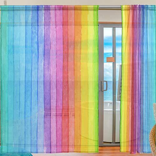 Ahomy Bunt gestreifter Aquarell-Regenbogen-Voile-Vorhang für Küche, Wohnzimmer, Schlafzimmer, 2 Vorhänge, 140 x 198 cm, Polyester, multi, 139.7x198.1 cm