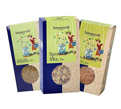Sonnentor bio Set: Sprossen-Mix, Bockshornklee, Alfalfa Bio-Keimsprossen Set BIO-AT-301