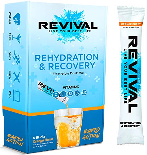 Revival Rapid Rehydration, Electrolytes Powder - High Strength Vitamin C, B1, B3, B5, B12 Supplement Sachet Drink, Effervescent Electrolyte Hydration Tablets - 6 Pack Orange