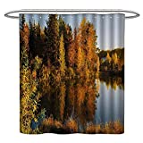 <span class='highlight'><span class='highlight'>TimBeve</span></span> Waterproof Fabric Shower Curtain Fall,Lake at Sunset Rays Autumnal Landscape Pond Woodland Outdoors Ecology Environment,Multicolor,Washable, Odorless, Eco-Friendly,for Bathroom 70