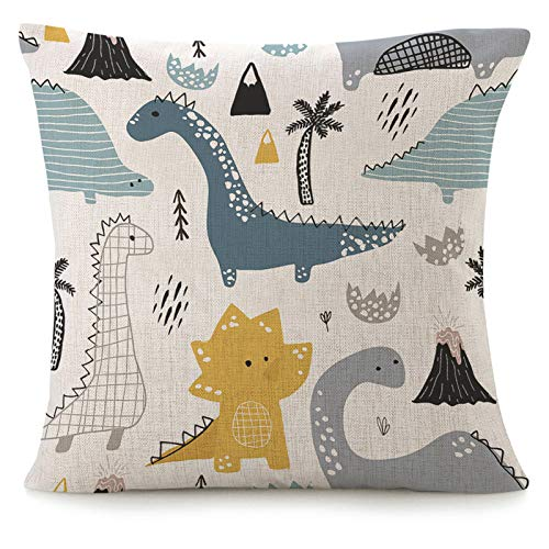 Throw Pillow Cover Childish Dinosaur 16x16 Inch Square Cotton Linen Sofa Pillow Case Scandinavian Style Abstract Dragon Trendy Cartoon Doodle Art Black White Nursery Cushion Cover Home Couch Bed Decor