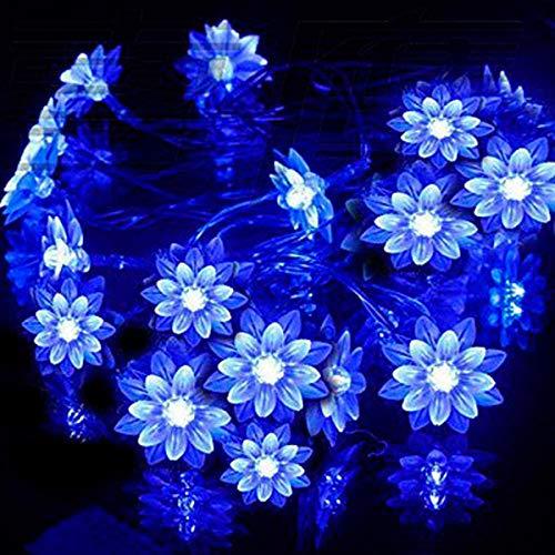 Yuehuam Solar String Lights,50 LEDs 7M Peach Ledertek Flower Lamp Power LED String Fairy Lights for Garlands Garden Party Festival Lawn Patio Landscape Xmas Tree Wedding Party Decor (Blue)