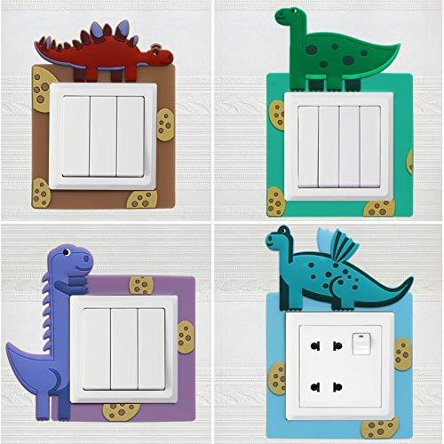BLOUR 4 Arten Leuchtender Waschschalter Aufkleber CartoonTierabdeckung Moderne einfache Wohnzimmer Schlafzimmer Kreative Steckdose Set Schalterabdeckung