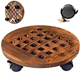 FEIAA Wood Plant Stand 12 inch Rolling Plant Caddy with Wheels Heavy Duty Industrial Rustic Planter Potted Round Indoor Outdoor
