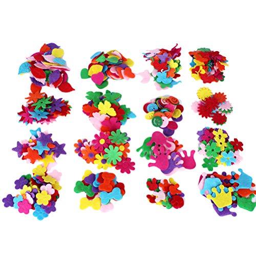 Healifty fieltro flores tela adornos florales parches de costura de flores para manualidades diy artesanía accesorios para el cabello calcomanías de ropa 200 piezas