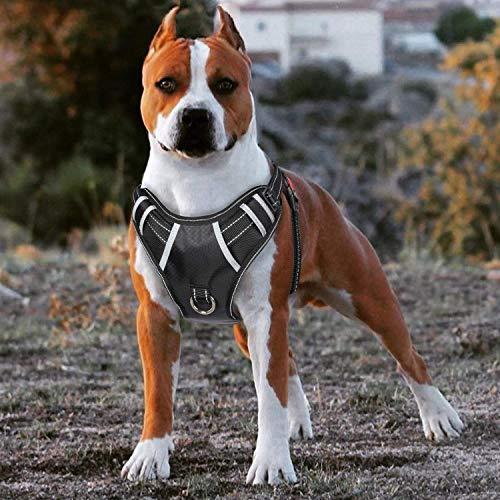 BABYLTRL Big Dog Harness No Pull Adjustable Pet Reflective Oxford Soft Vest for Large Dogs Easy Control Harness (M, Black)