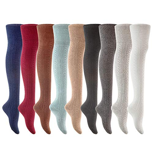 Lian LifeStyle Women's 2 Pairs Fashion Thigh High Cotton Socks Over Knee High Leg Warmers LLS1025 Size 6-9(Assorted)