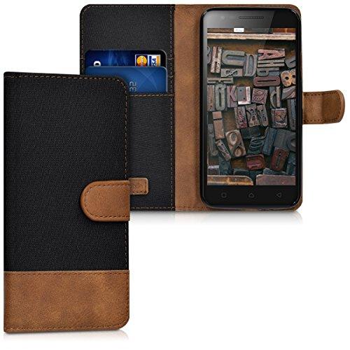 kwmobile Custodia Compatibile con Lenovo C2 (5') - Cover a Portafoglio Porta Carte Tessuto Simil Pelle Stand - Case Magnetica