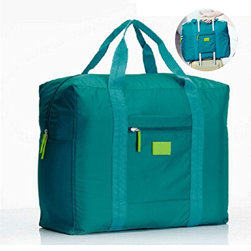 Jooks Travel Tote Bag Foldable Duffel Bag Hand Baggage lightweight Luggage Bag Suitcase Clothes Storage Bag Great for Camping and Gym Green