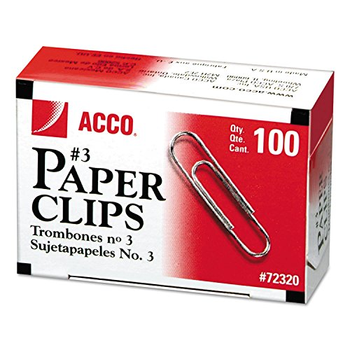 ACCO BRANDS Smooth Economy Paper Clip, Steel Wire, No. 3, Silver, 100/Box, 10 Boxes/Pack (72320)