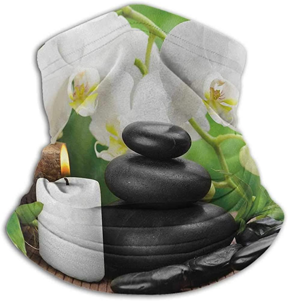 Neck Gaiter Spa Ski Tube Scarf Zen Hot Massage Stones with Orchid Candles and Magnificent Nature Remedies Black White and Green