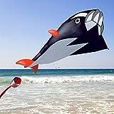 子供のための巨大なイルカの凧、3Dカイト巨大なフレームレスソフトパラフィンジャイアントドルフィンブリーズカイト(1.2メートル×2.1メートル黒)